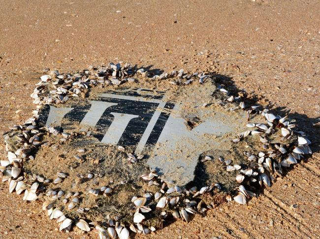 Part of MH370's engine cowling found at Mossel Bay, South Africa with the Rolls Royce logo. Picture: Australian Transport Safety Bureau