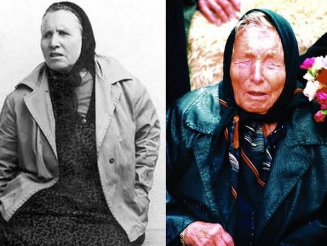 A younger Baba Vanga in an undated photograph (left) and as she looked in the last years of her life
