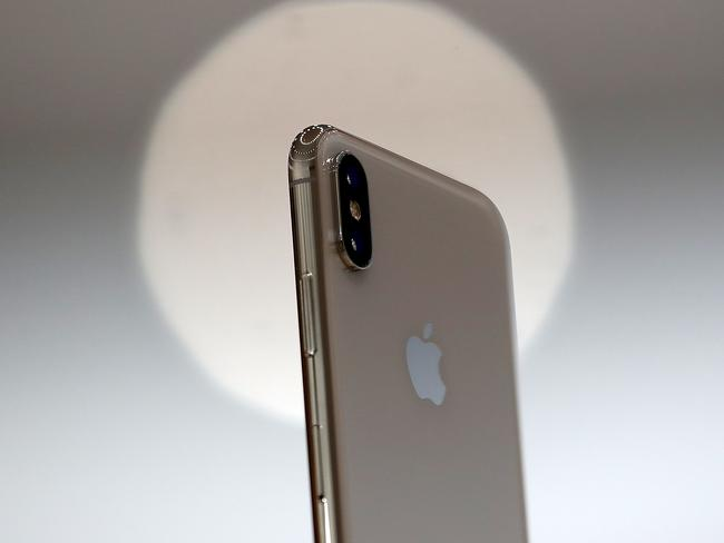The new iPhone X and its camera is displayed during an Apple special event at the Steve Jobs Theatre. Picture: Getty