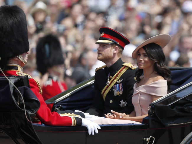 The Duke and Duchess of Sussex ride in a carriage to attend the annual Trooping the Colour ceremony in London. Photo: AP /Frank Augstein