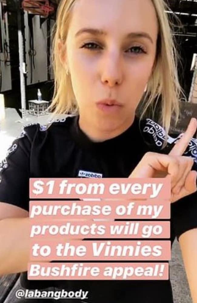 Sarah Stevenson, known as Sarah's Day on Instagram, copped major flak over her $1 bushfire pledge. Picture: Insagram / Sarah's Day