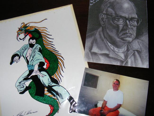 Photo of serial killer Daniel Conahan, self-portrait charcoal by Serial killer Roy Norris and an ink art of Ninja by Cannibal Arthur Shawcross are among Amanda's collection.