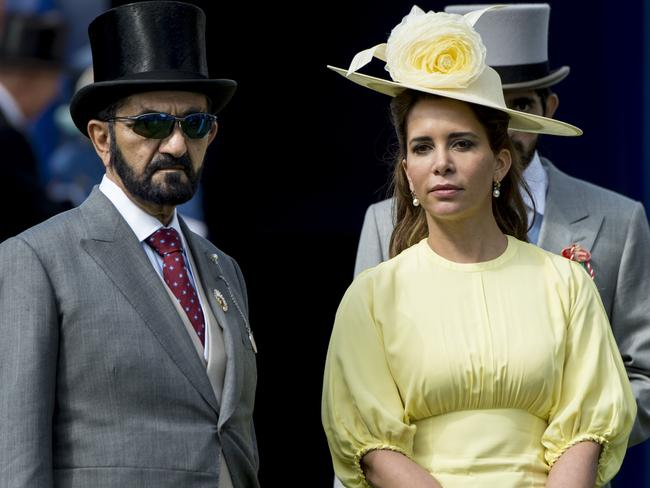 Princess Haya Bint Al Hussein and sheik Mohammed Bin Rashid Al Maktoum attend Derby day at Epsom Derby festival at Epsom Downs in happier times. Picture: Mark Cuthbert/UK Press via Getty Images
