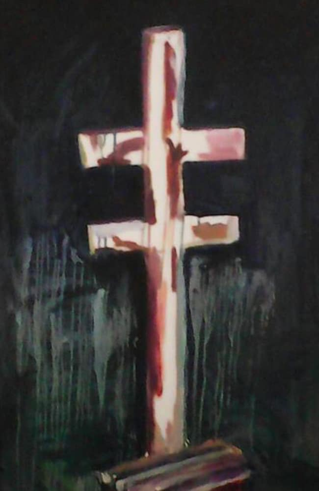 Chilling ... Myuran Sukumaran's painting of a pole and cross used in previous executions. Picture: Supplied