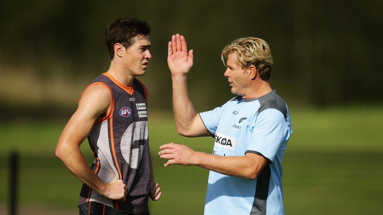 Jeremy Cameron and Dermott Brereton at a GWS training session.