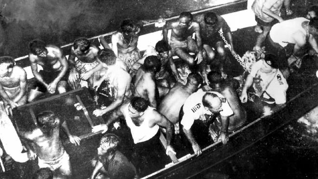 Survivors ... HMAS Voyager survivors after their ship's collision with HMAS Melbourne during war games near Jervis Bay, NSW. Picture: Supplied