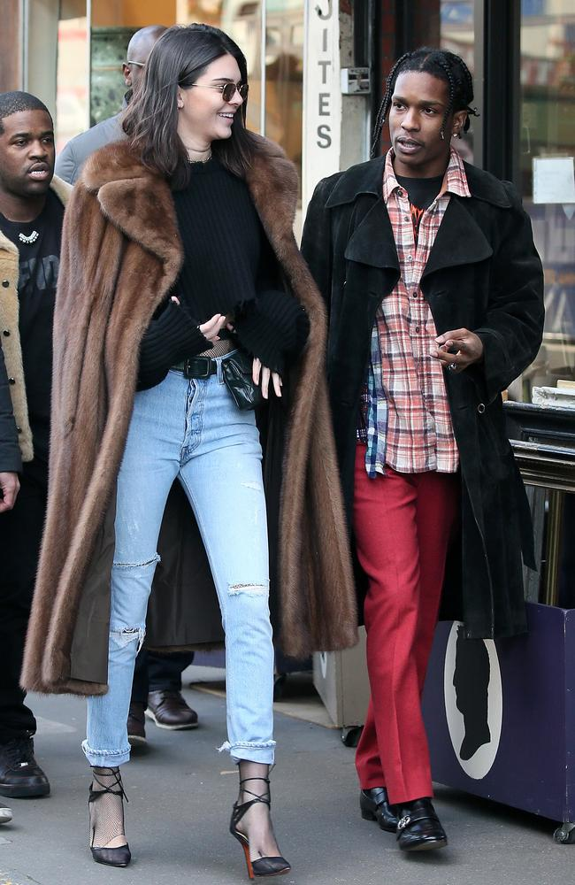 Kendall Jenner with A$AP Rocky at a flea market on January 22, 2017 in Paris, France. Picture: Pierre Suu/GC Images