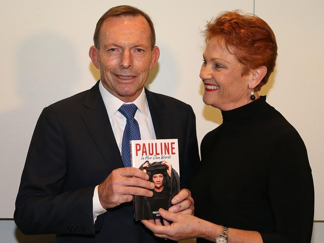"""It was a bit of a """"love-in"""" between former PM Tony Abbott, who once tried to put her in jail, and Senator Pauline Hanson at Parliament House yesterday. Picture Kym Smith"""