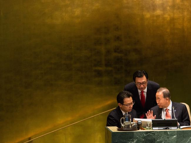 Against the tide ... United Nations Secretary General Ban Ki-moon meets with others before opening the 69th United Nations General Assembly. The annual event brings political leaders from around the globe together to report on issues meet and look for solutions. Source: AFP