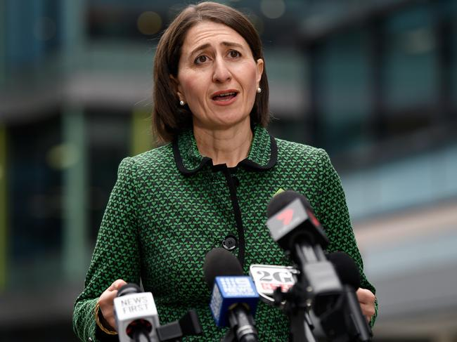NSW Premier Gladys Berejiklian speaks to the media during a press conference in Sydney. Picture: Bianca De Marchi/AAP