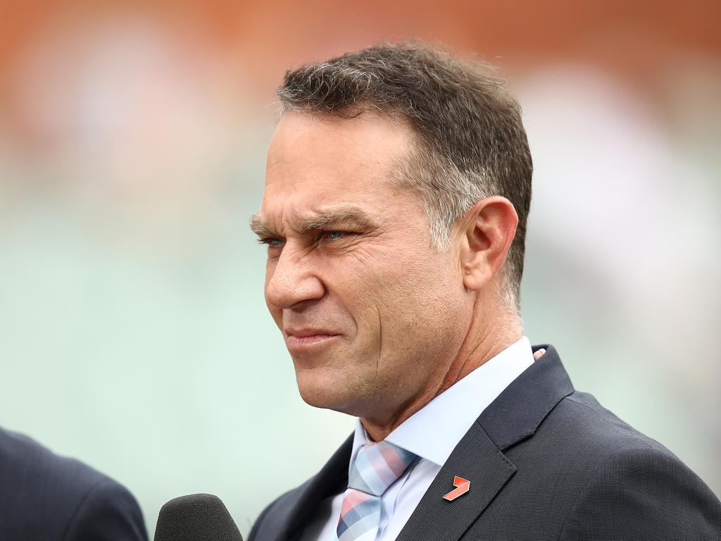 ADELAIDE, AUSTRALIA - DECEMBER 07: Michael Slater commentates for Seven during day two of the First Test match in the series between Australia and India at Adelaide Oval on December 07, 2018 in Adelaide, Australia. (Photo by Ryan Pierse/Getty Images)