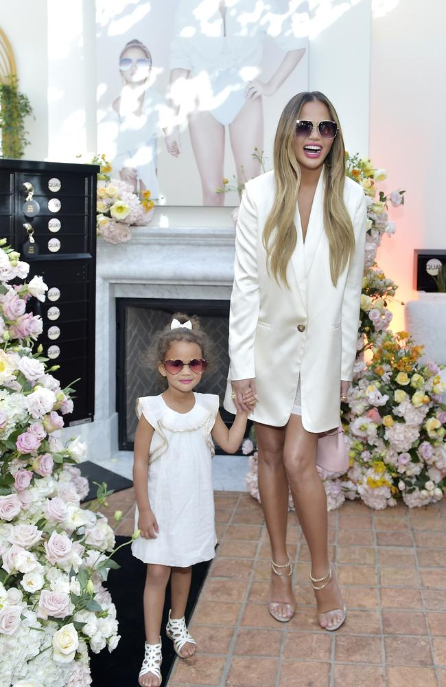 Chrissy Teigen and daughter attend QUAYXCHRISSY Launch Party at Olivetta on February 11, 2020 in West Hollywood, California. Picture: Stefanie Keenan/Getty Images for Quay