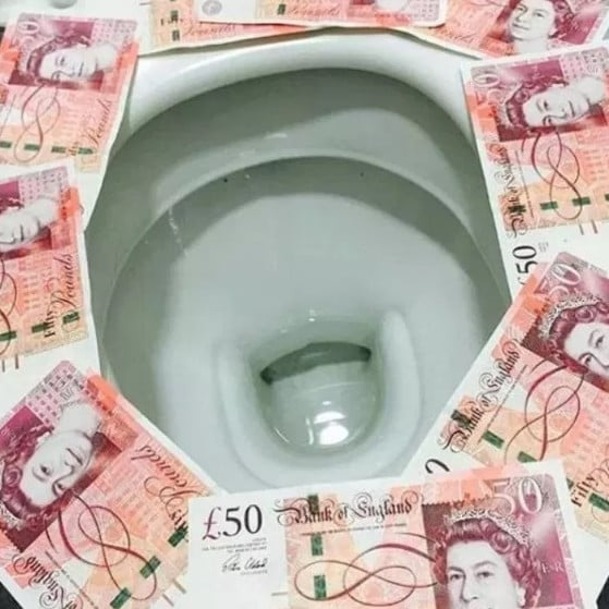 One wealthy teen went to extreme lengths to avoid coming into contact with the toilet seat. Picture: Instagram