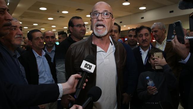 Mr Abbas spoke with media on his arrival home. Picture: Britta Campion/The Australian