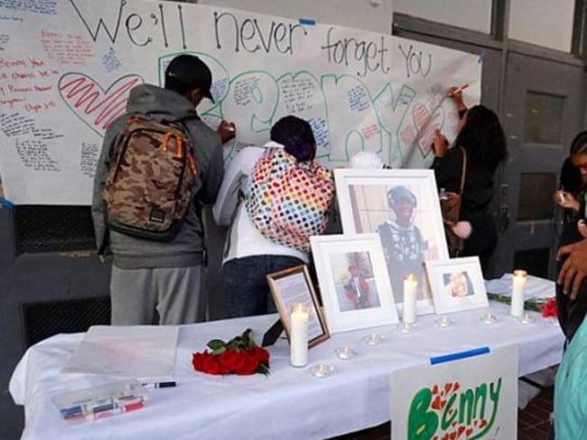 Benny's schoolmate wrote tributes to him. Picture: Supplied