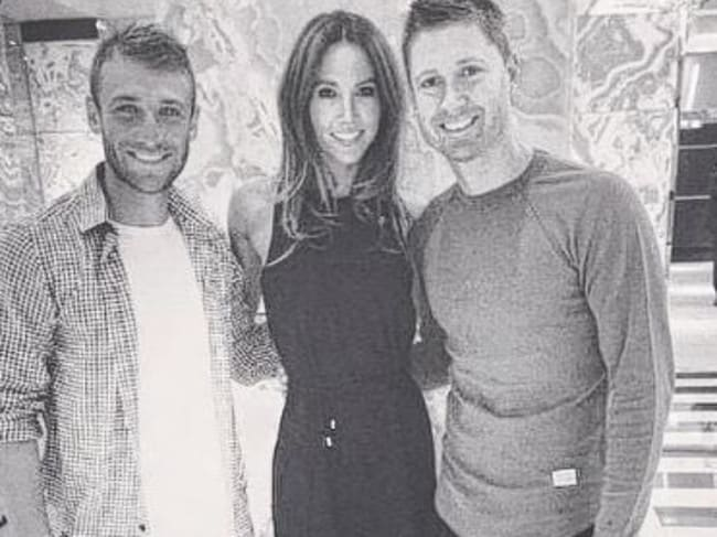Clarke and Hughes with Michael's wife Kyly. Picture: Michael Clarke, Instagram