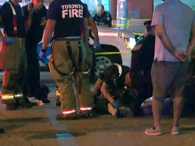 Police, paramedics and firefighters converged on the scene in Toronto's east end. Picture: CTV News