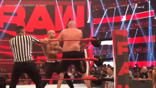 WWE: Tyson Fury with the knockout blow to Cesaro after fight goes off air