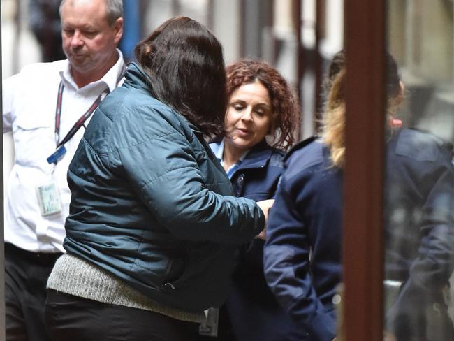 Katia Pyliotis (left) arrives at the Supreme Court of Victoria. Picture: James Ross
