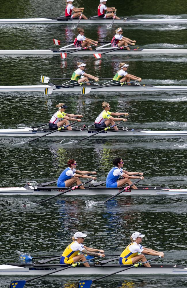 The rowing teams of (bottom to top) Sweden, Italy, Great Britain, Australia, Canada and Poland from below in action during Lightweight Women's Double Sculls Final.