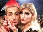 "Frankie Grande and Meghan Trainor get friendly, "" Cutest couple at @thegrammys. @meghan_trainor."" Picture: Instagram"