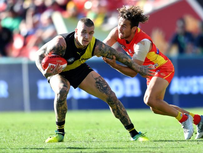 Dustin Martin lead his Tigers to a win over the Dons on Friday night? Picture: AAP Image