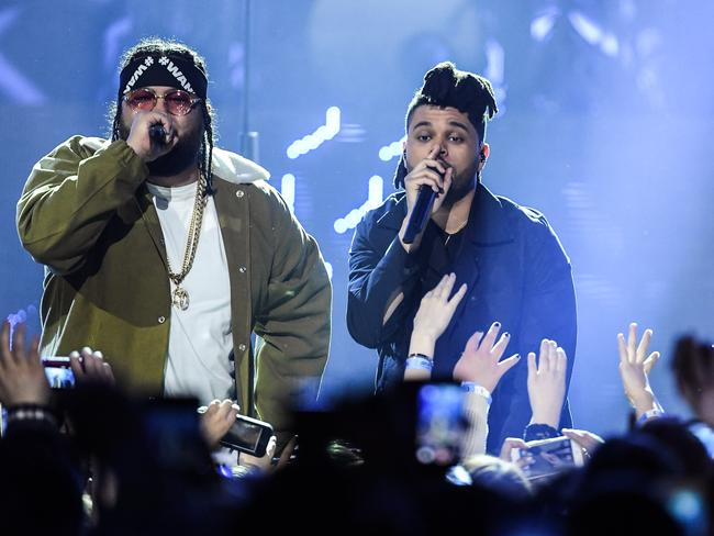 Rapper Belly and The Weeknd perform at the 2016 Juno Awards in Calgary, Canada.