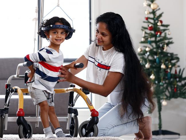 Kiveyn Peiris with his mum Shiranga Silva made it back home in time for Christmas. Picture: Sam Ruttyn