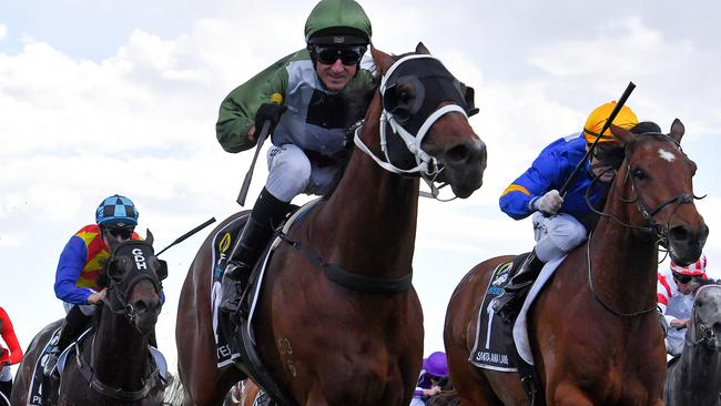 Glen Boss was all smiles as Yes Yes Yes stormed to victory in The Everest. Picture: AAP