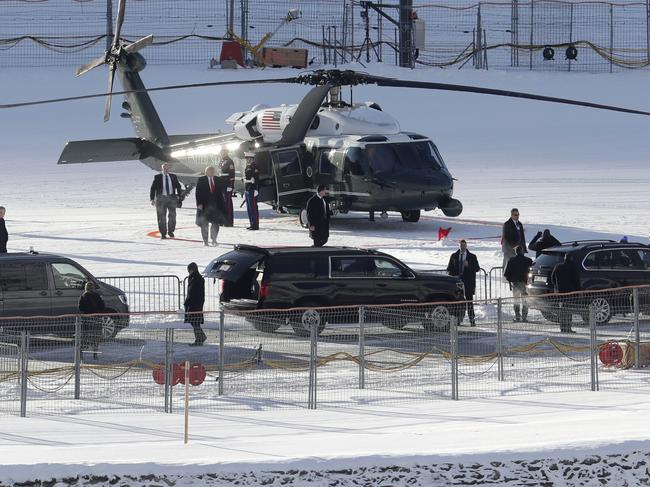 US President Donald Trump arrives on Marine One Picture: AP Photo/Michael Probst.