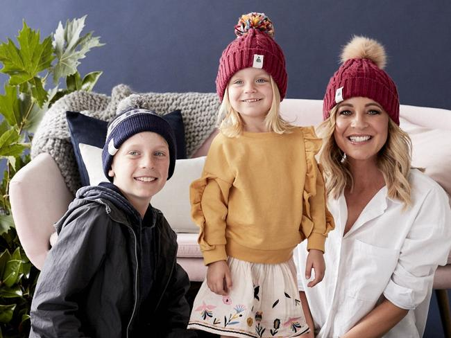 Carrie Bickmore with her kids Evie and Ollie.