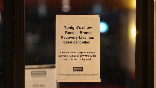 Comedian Russell Brand cancelled his show at the Perth Concert Hall over coronavirus fears this week. Picture: Paul Kane/Getty Images