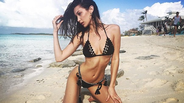 Bella Hadid promotes the disastrous Fyre Festival.