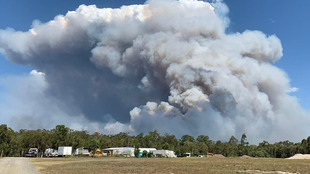 "Cooroibah residents are being urged to leave as a vegetation fire pushes towards the community. Photo: Contributed ""width ="" 1280 ""height ="" 720 ""class ="" tge-imagecaption_img"