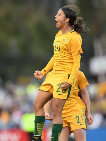 Sam Kerr of Australia celebrates.