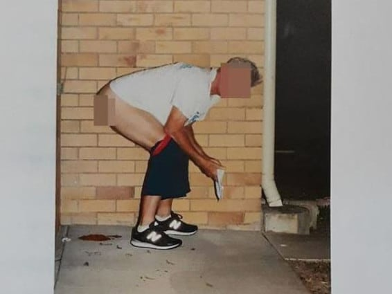 The photo of Brisbane's infamous poo jogger after residents of the unit block he used as a dumping ground set-up a stint operation.