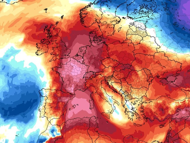 A heatwave is affecting large parts of Europe. Picture: TropicalTidbits
