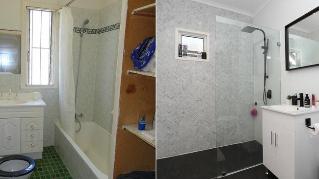 The bathroom at the house at 10 Burn St, Camp Hill, before and after the renovation.