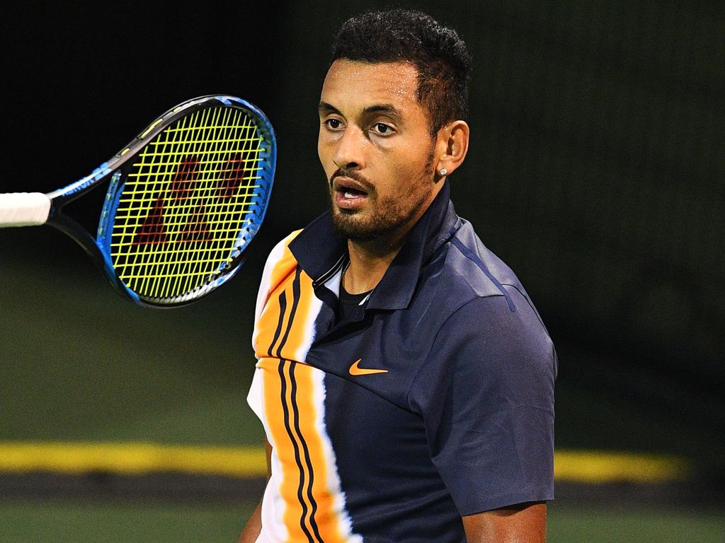 Nick Kyrgios of Australia reacts after a point against Bradley Klahn of the US during their men's single round of 64 match at the Shanghai Masters tennis tournament on October 8, 2018. (Photo by Johannes EISELE / AFP)