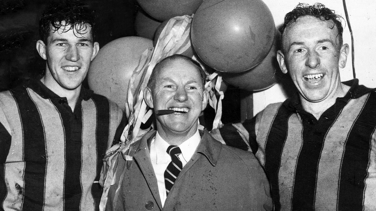 Hawthorn's Allan Woodley, coach Jack Hale and John Kennedy after the club won a VFL final for the first time, in 1957.