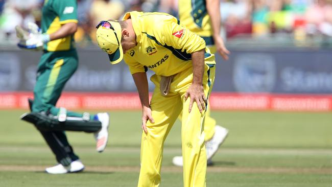 Adam Zampa of Australia reacts during another loss to South Africa.