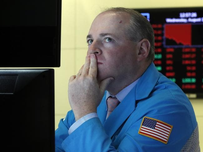 Specialist Edward Loggie on the floor of the New York Stock Exchange. Picture: AP