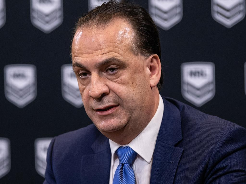 Australian Rugby League Commission Chairman Peter Vlandys speaks to media during a press conference at Rugby League Central in Sydney, Monday, March 23, 2020. (AAP Image/James Gourley) NO ARCHIVING