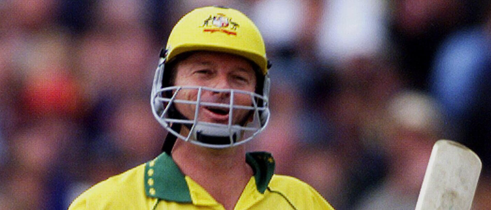 JUNE 14, 1999 : Batsman & captain Steve Waugh after his man of the match unbeaten century performance during Australia v South Africa in Super Six game of World Cup at Headingley, Leeds, 14/06/99. Cricket F/L