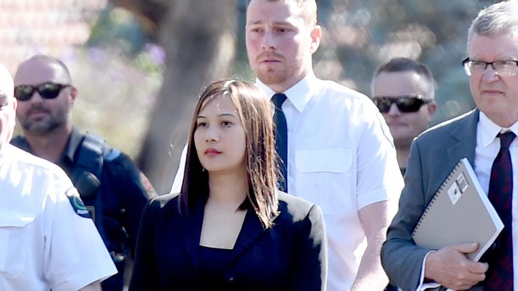Caroline Dela Rose Nilsson with her lawyer, Craig Caldicott (right). Mr Caldicott said his client will apply for bail shortly. Picture: NCA NewsWire/Naomi Jellicoe