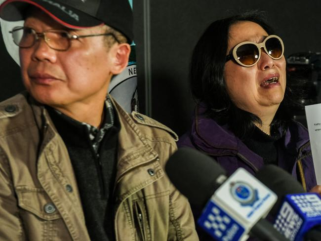 Zhihe Yu and his wife, Qing He. Picture: Brendan Esposito/AAP