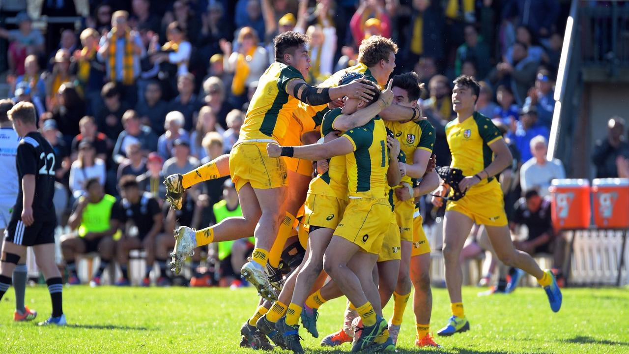 Australia's Schoolboys side react at full time after holding on to beat New Zealand 18-14. Photo: Dave Lintott/ lintottphoto.co.nz