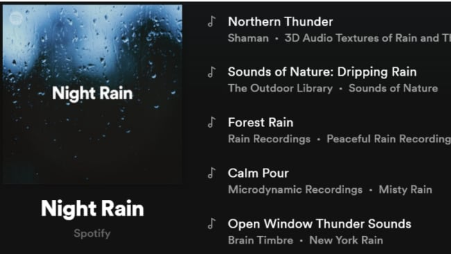 Love the rain on a tin roof like I do? This sleep playlist comprises of a 119 songs full of rain sounds in the night. Image: Spotify