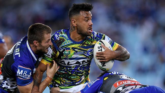 Kenny Edwards in action for the Eels on Friday night, days before the alleged runner came to light.