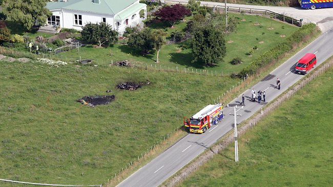 Aerial view of the scene over Somerset Road, Carterton, showing the remains of a hot air balloon that crashed killing all 11 aboard. Picture: Lynda Feringa / Herald on Sunday